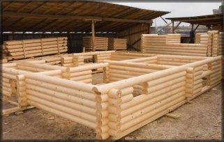 Строительство сруба из оцилиндрованных бревен